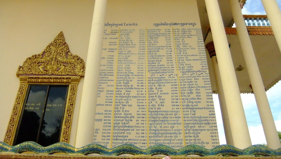 List of donors to Wat Pratheath which was built at the site of a major torture centre during the Khmer Rouge period.